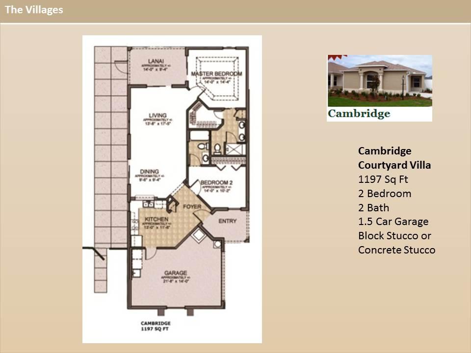 The villages homes courtyard villas cambridge model for Floor plans villages florida