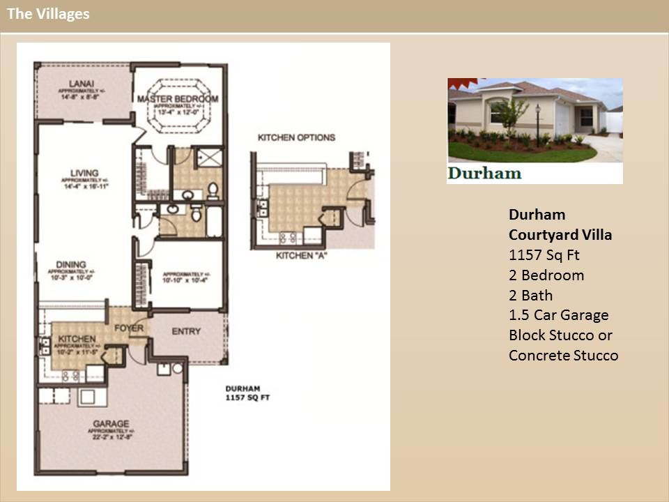 The villages homes courtyard villas durham model Plans for villas