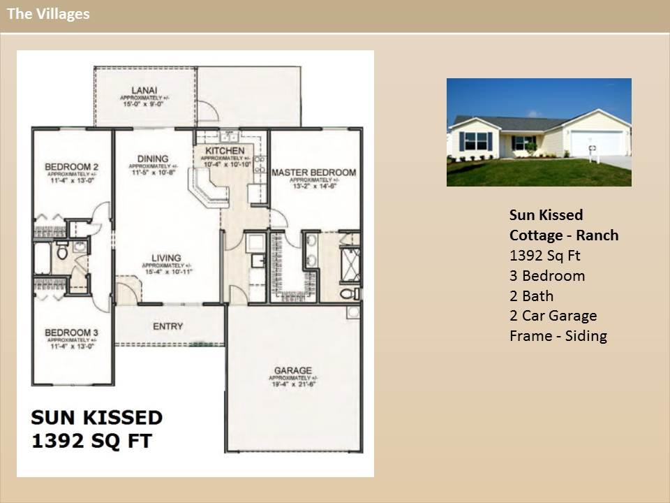 The villages homes cottage ranch homessun kissed for The villages house plans