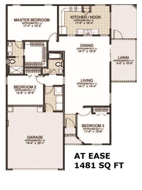 the villages homes cottage ranch homes at ease model. Black Bedroom Furniture Sets. Home Design Ideas